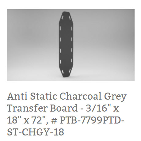 "Anti Static Charcoal Grey Transfer Board - 3/16"" x 18"" x 72"", # PTB-7799PTD-ST-CHGY-18 S"